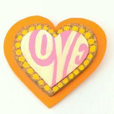 Hippie Love Brooch '60s wooden handmade vintage by YooHooCowboy, $15.00