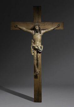 Christ sur la Croix Autriche, Tyrol du Sud c. 1510-1520 Christ: 143 x 123 x 21 cm; croix: 275 x 160 x 34 cm; bois sculpté et polychromé