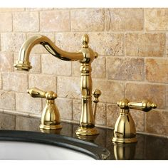 Pictures In Gallery Kingston Brass Heritage Polished Brass Widespread Bathroom Faucet Drain Included at Lowe us