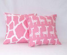 Decorative Pillows Children Pillow Girls Room Pink Nursery Decor 18 x 18 inches  Giraffe Prints via Etsy