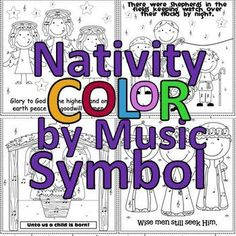 Christmas Nativity Color by Music Symbol/Note - a great idea for music workstations, December sub plans or to use while listening to Christmas music. Fun!