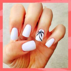 There are three kinds of fake nails which all come from the family of plastics. Acrylic nails are a liquid and powder mix. They are mixed in front of you and then they are brushed onto your nails and shaped. These nails are air dried. Tropical Nail Designs, Beach Nail Designs, Cute Summer Nail Designs, Cute Summer Nails, White Nail Designs, Nail Art Designs, Summer Beach Nails, Summer Vacation Nails, Beach Nail Art