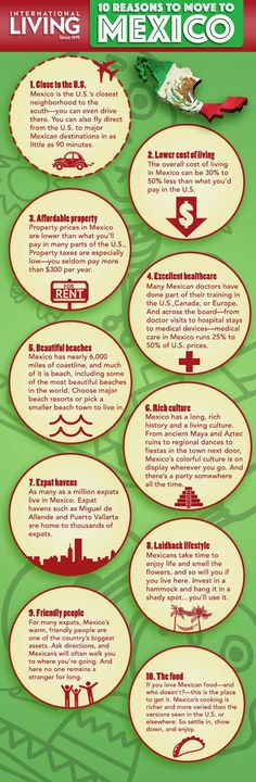 Move to Mexico.Some useful information including a detailed info-graphic giving you 10 of the best reasons why you should consider moving to Mexico. Best Places To Retire, Europe Train, Living In Mexico, Mexico Culture, The Beautiful Country, Mexico City, Mexico Food, Beach Town, Puerto Vallarta