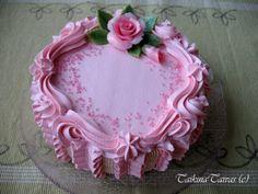 Cake by TaikinaTaivas - Vuodatus.net Cake Piping, Buttercream Cake, Chocolate Flowers Bouquet, Heart Shaped Cakes, Mini Tart, Cake Decorating Videos, Creative Cakes, Cakes And More, Puddings