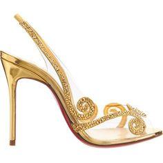 Christian Louboutin Au Hameau ($1,495) ❤ liked on Polyvore featuring shoes, sandals, heels, high heel shoes, high heeled footwear, embellished sandals, peep toe heeled sandals and heeled sandals #sandalsheelssummer
