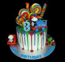 Thomas the Tank Engine Drip Cake, Thomas the Tank Cake, 3rd Birthday Cake, Thomas 3rd Birthday Cake, Drip Cale, 3rd birthday drip cake, lollypop cake