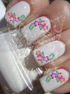 Nail Art Hibiscus Flower Nail water decals Transfers Wraps