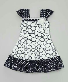 Another great find on Black & White Daisy Puff-Sleeve Dress - Toddler & Girls by Roberto Toscani Newborn Girl Dresses, Toddler Girl Dresses, Little Girl Dresses, Baby Dress, Toddler Girls, Baby Girl Frocks, Frocks For Girls, Cute Girl Outfits, Kids Outfits