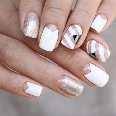 White and bare chevron half moon manicure by Unistella