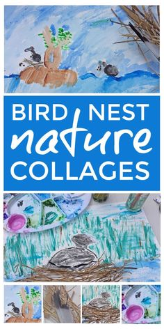 A lovely spring collage craft and nature activity for kids to observe birds habitats and nest building and create beautiful spring paintings using natural materials they've collected outdoors. Outside Activities For Kids, Nature Activities, Spring Activities, Creative Activities, Kindergarten Activities, Learning Activities, Spring Crafts For Kids, Kids Crafts, Forest Habitat