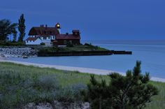 Point Betsie Lighthouse at Dusk, Lake Michigan by Michigan Nut on flickr