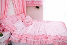 new Lace bedding set hot sale100%cotton 4pcs bedding set king queen size princess rustic bed set quilt cover bed linen wholesale $58.50 - 69.50
