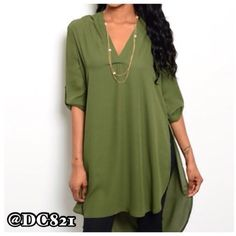 Olive High Low Tunic High low V neck with gold button detail on sleeves. Nice quality rayon/poly blend fabric. Perfect for pairing with leggings. Tops Tunics