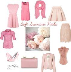 Soft Summer pinks by sabira-amira Soft Summer Color Palette, Summer Colors, Seasonal Color Analysis, Color Me Beautiful, Soft Autumn, Zooey Deschanel, Fashion Colours, Season Colors, Style Inspiration