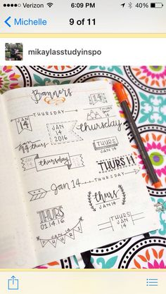 Bullet journal banner headers