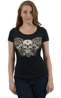 Lucky 13 t shirt women scoop neck black cotton Mariposa Tattoo pinup skull moth #Lucky13 #GraphicTee