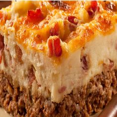 Cowboy Meatloaf and Potato Casserole ~ this even better with homemade mashed taters on top.  Kind of like a Shepherd's Pie/Twice Baked Potato casserole.
