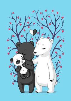 Schwarzbär und Eisbär als Eltern von Pandabär