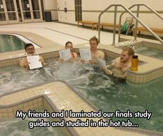 this is so funny! we actually have take waterproof books in the hot tub at the gym at the college lol!