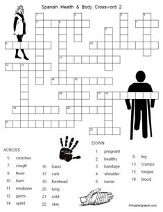 NEW Printable Spanish FREEBIE of the Day: Spanish Health and Body Crossword #2 from PrintableSpanish.com