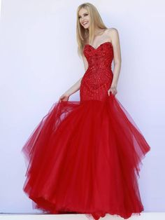 Mermaid Prom Dress ,Sweetheart Prom Dress, Red Prom Dress