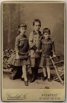 Turn of the Century late 1890s early 1900s, black&white Hungarian  family portrait, 3 Victorian children Budapest,  Hungary