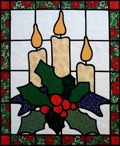 Pin by Jan Patterson Thomen on Quilts Stained Glass Quilt, Stained Glass Ornaments, Stained Glass Christmas, Stained Glass Projects, Stained Glass Patterns, Christmas Patchwork, Christmas Applique, Christmas Sewing, Christmas Projects
