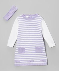 Another great find on #zulily! Lilac Stripe Knit Bow Dress & Headband - Infant & Toddler by Tots Fifth Avenue #zulilyfinds