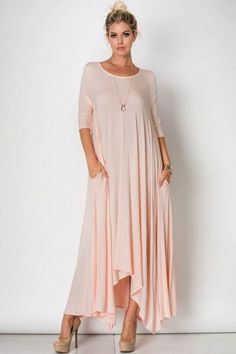 - 3/4 Sleeve Drapey Maxi Dress - 95%RAYON 5%SPANDEX - Made in the USA - Dress Runs True to Size