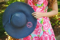 Our Monogrammed Floppy Hat looks fabulous with this Lilly Pulitzer dress