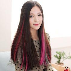 #ulzzang #hair pink highlights #extension