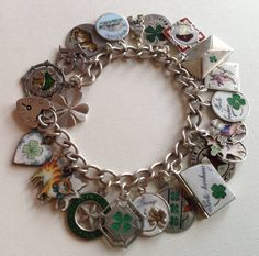 eCharmony Charm Bracelet Collection - Antique Porte Bonheur Enamel Charms and Sliders