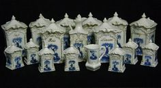 Antique German Porcelain Canister Set Holland Wind Mill 17 piece w/ Lids