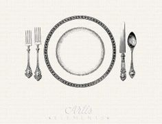 Printable Place Setting Dinner Plate Knife Fork Spoon