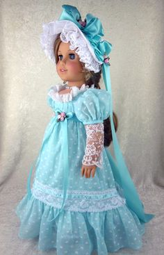 Regency Gown, dotted swiss voile & Hat  by Littlecharmersdolldesgn | alterations24u via eBay, 1/19/13 SOLD $69.95