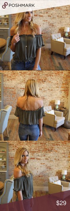 """Olive off the shoulder crop top Love this top! Modeling size small. 100% rayon. Bust laying flat: S 18"""" M 19"""" L 20"""" length S 15"""" M 16"""" L 17"""". Add to bundle to save when purchasing. TM7760120 Tops"""