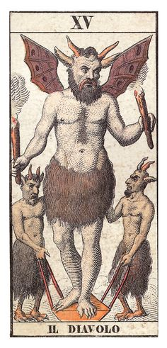 French Tarot Card, Il Diavolo, The Devil --> http://All-About-Tarot.com <--