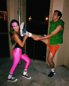 Pin for Later: Nostalgia Time: Neon-Bright '80s Workout Costume Inspiration You Could Even Try Some Kind of Couples Costume, If You're Into That