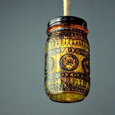 Hand Painted Mason Jar Lantern Goldenrod Tinted Glass by LITdecor. $24.00, via Etsy.