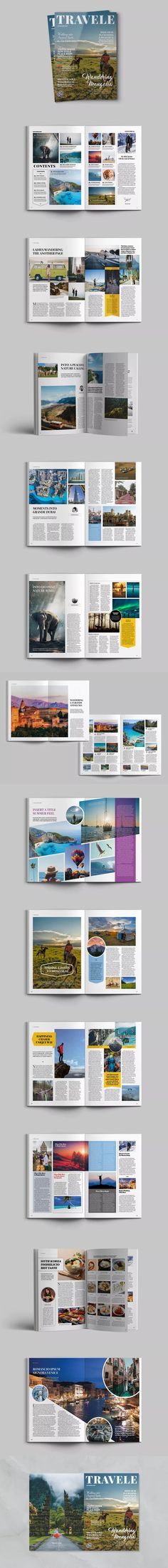 Traveling Magazine Template InDesign INDD - A4 #unlimiteddownloads