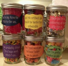 Gift for Your Handsome Boyfriend- Birthday message for boyfriend! Mason jars filled with different candy, each cor. Birthday Message For Boyfriend, Valentines Gifts For Boyfriend, Valentines Diy, Valentine Day Gifts, Surprise Boyfriend, Homemade Boyfriend Gifts, Christmas Ideas For Boyfriend, Christmas Gifts, Valentine Ideas For Husband