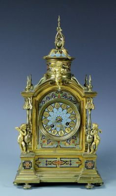 French Champleve Enamled Bronze Clock- Cupid : Lot 741