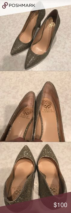 Sparkle Vince Camuto Heels These heels were only worn once or twice and are in FABULOUS condition! The inside heel used to have the padding that you stick on and there is still some sticky residue. These shoes are beautiful! Vince Camuto Shoes Heels
