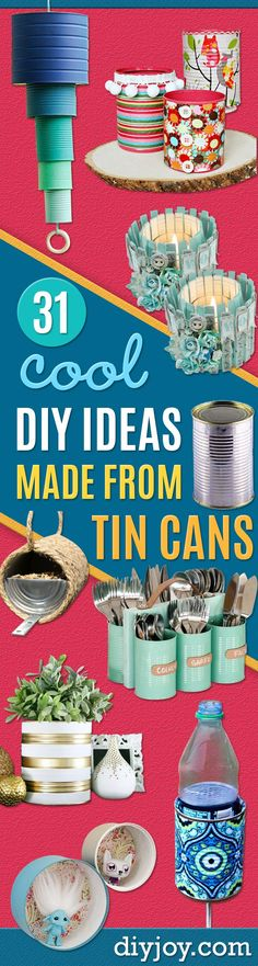 DIY Ideas With Old Tin Cans - Rustic Farmhouse Decor Tutorials and Projects Made With An Old Tin Can - Easy Vintage Shelving, Wall Art, Picture Frames and Home Decor for Kitchen, Living Room and Bathroom - Creative Country Crafts, Craft Room Storage, Silverware Holder, Rustic Wall Art and Accessories to Make and Sell http://diyjoy.com/diy-projects-tin-cans