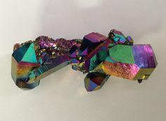 Titanium Electroplated Purple Aura Double Terminated Arkansas Crystal Specimen Cluster by MudStonesandMustangs on Etsy