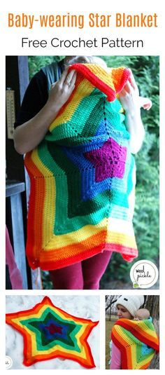 Baby-wearing Star Blanket Free Crochet Pattern Make beautiful and multi-use blanket for your little one with this Baby-wearing Star Blanket Crochet Pattern. Crochet Star Blanket, Star Baby Blanket, Crochet Baby Blanket Beginner, Crochet Stars, Afghan Crochet Patterns, Baby Patterns, Crochet Blankets, Free Baby Crochet Patterns, Crochet Afghans