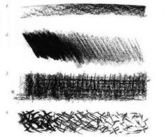 This drawing shows different shading techniques commonly used in charcoal drawings
