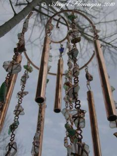 Mermaids Memories Beach Glass Wind Chimes are handmade in Nova Scotia, Canada, by local artists Angel Flanagan & Jamie Thibault using genuine hand picked beach glass & salvaged recycled copper wire.