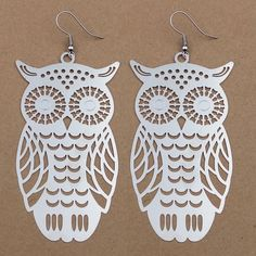 Silver Color Big Owl Pendant Dangle Earrings for Women and Teen Girl Copper Made #SilverColor #Earrings