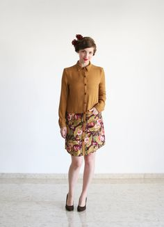 Clearance SALE/ Mustard and Floral print by SharonBoazFashion